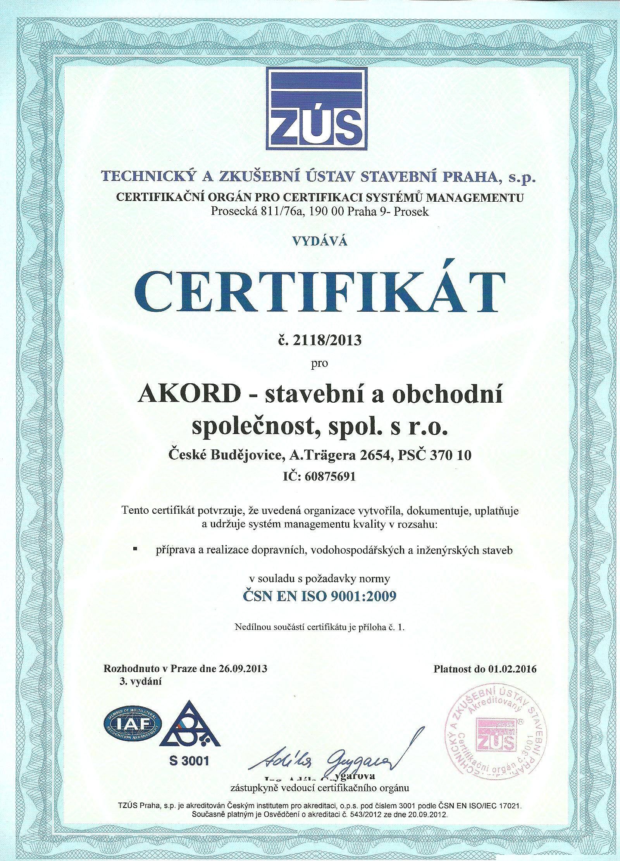 Certifikát 9001:2009